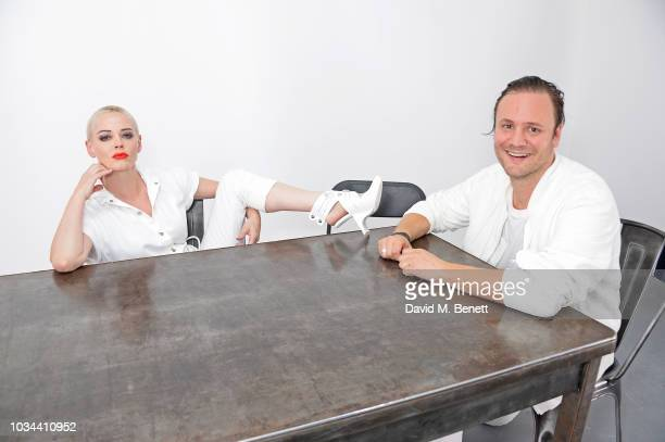 Rose McGowan and Nicholas Kirkwood pose backstage at the Nicholas Kirkwood SS19 show during London Fashion Week at Ambika P3 on September 16, 2018 in...
