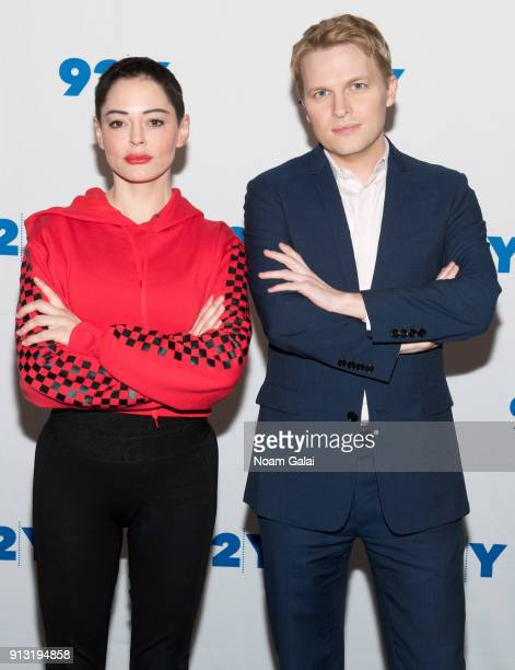 Rose McGowan and Ronan Farrow visit 92Y at Kaufman Concert Hall on February 1 2018 in New York City