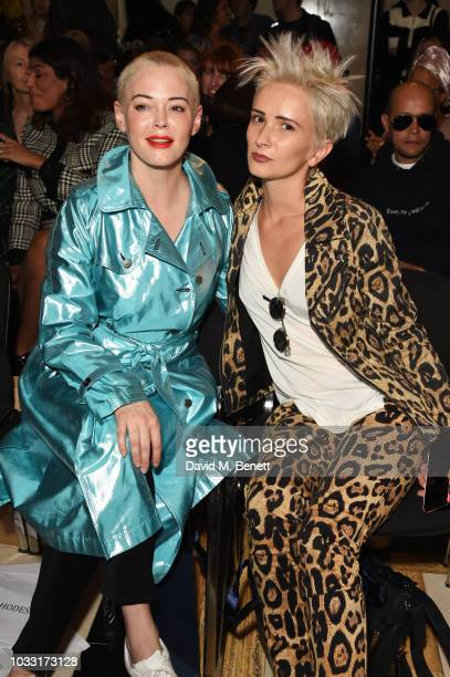 Rose McGowan and Sshh Liguz attend the Pam Hogg front row during London Fashion Week September 2018 at The Freemason's Hall on September 14 2018 in...