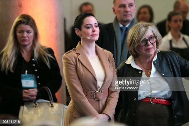 Rose McGowan and Steffi Czerny during the DLD Impact Award by DLD Munich 2018 at Alte Bayerische Staatsbank on January 21 2018 in Munich Germany The...