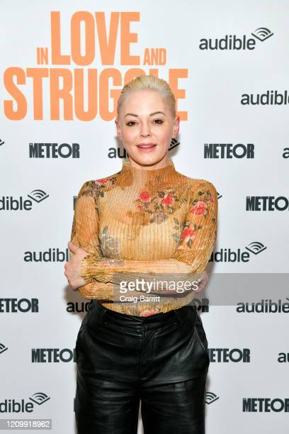 """Rose McGowan attends as Audible presents: """"In Love and Struggle"""" at Audible's Minetta Lane Theater on February 29, 2020 in New York City."""