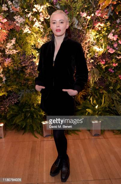 Rose McGowan attends the Perrier-Jouet and Richard Quinn Secret Garden Party on February 19, 2019 in London, England.