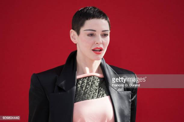 Rose McGowan attends the Vivienne Westwood show as part of the Paris Fashion Week Womenswear Fall/Winter 2018/2019 on March 3 2018 in Paris France