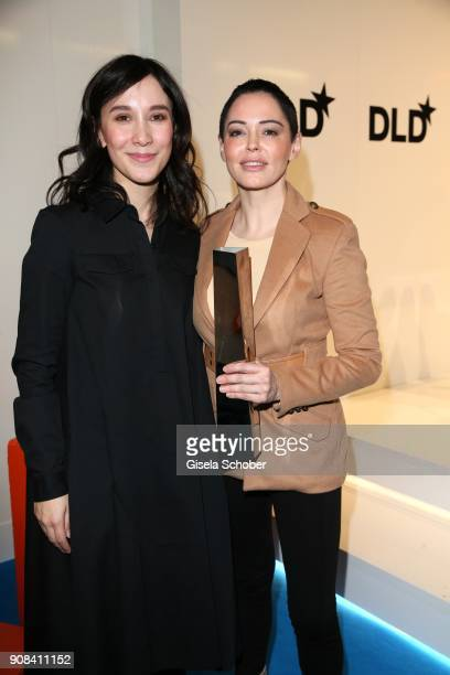 Rose McGowan is awarded with the DLD Impact Award by Sibel Kekilli during the DLD Munich 2018 at Alte Bayerische Staatsbank on January 21 2018 in...