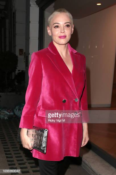 Rose McGowan is seen attending during the London Fashion Week outside the Spring/Summer 2019 Woman by Ralph Lauren after party at Isabel Restaurant...