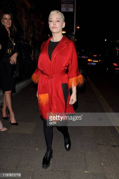 Rose McGowan is seen leaving Annabel's private club Mayfair on March 22, 2019 in London, England.