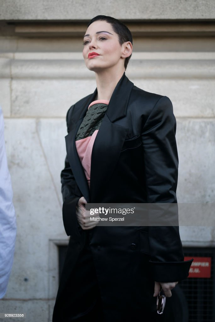 Rose McGowan is seen on the street attending Vivienne Westwood during Paris Women's Fashion Week A/W 2018 wearing Vivienne Westwood on March 3, 2018 in Paris, France.