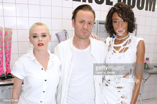Rose McGowan, Nicholas Kirkwood and Winnie Harlow attend the Nicholas Kirkwood SS19 show during London Fashion Week at Ambika P3 on September 16,...