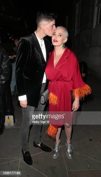 Rose McGowan seen attending LOVE Magazine party at No 5 Hertford Street during London Fashion Week September 2018 on September 17 2018 in London...