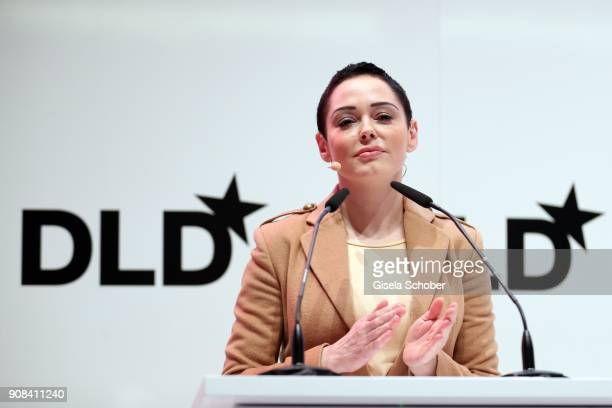Rose McGowan speaks during the DLD Impact Award by DLD Munich 2018 at Alte Bayerische Staatsbank on January 21 2018 in Munich Germany The DLD Impact...