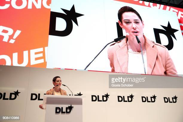 Rose McGowan speaks during the DLD Impact Award by during the DLD Munich 2018 at Alte Bayerische Staatsbank on January 21 2018 in Munich Germany The...