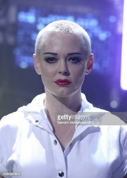Rose McGowan walks the runway at the Nicholas Kirkwood show during London Fashion Week September 2018 at Ambika P3 on September 16, 2018 in London,...