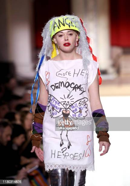 Rose McGowan walks the runway at the Vivienne Westwood show during London Fashion Week February 2019 on February 17 2019 in London England