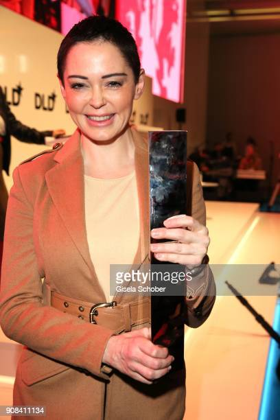 Rose McGowan with award during the DLD Impact Award by DLD Munich 2018 at Alte Bayerische Staatsbank on January 21 2018 in Munich Germany The DLD...