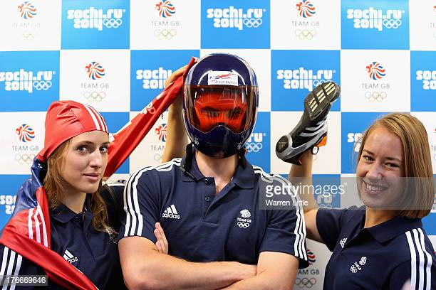 Rose McGradle Ed Smith and Lizzy Yarnold of the British Winter Olympic Skeleton Team poses for a picture during the Team GB Winter Olympic Media...