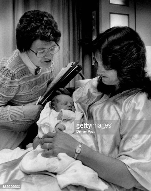5/13/1986 MAY 19 1986 #Rose Medical Center Mary Fangmaier expert on babies names records in OB at Rose L to R Mary Fangamier Mrs Cindy Sommer with...