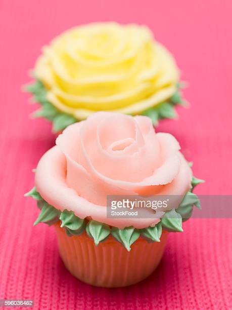 Rose muffins on pink background