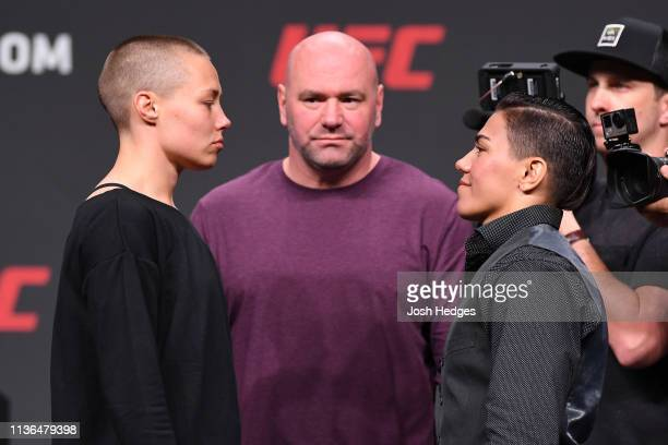 Rose Namajunas and Jessica Andrade of Brazil face off during the UFC Seasonal Press Conference inside State Farm Arena on April 12 2019 in Atlanta...