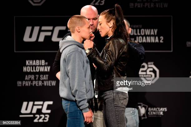 Rose Namajunas and Joanna Jedrzejczyk of Poland face off during the UFC 223 Press Conference at the Music Hall of Williamsburg on April 4 2018 in...