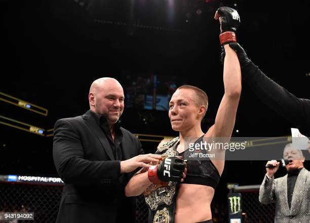 Rose Namajunas celebrates after her victory over Joanna Jedrzejczyk in their women's strawweight title bout during the UFC 223 event inside Barclays...