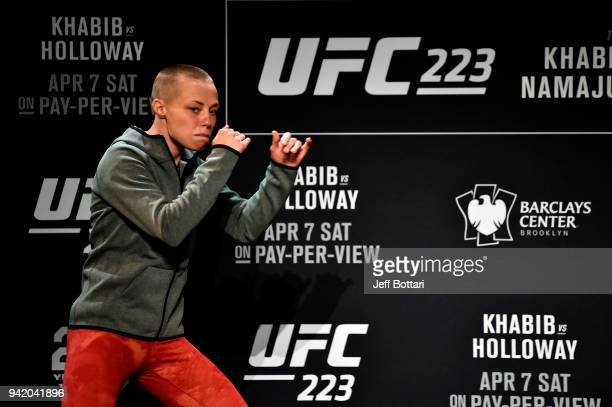 Rose Namajunas holds an open training session for fans and media during the UFC 223 Open Workouts at the Music Hall of Williamsburg on April 4 2018...