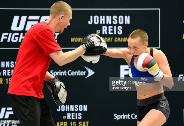 Rose Namajunas holds an open workout for fans and media at the Kansas City Power Light District on April 13 2017 in Kansas City Missouri