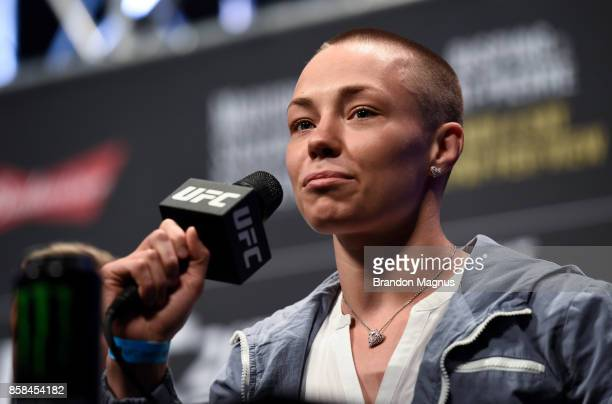 Rose Namajunas interacts with fans and media during the UFC 217 news conference inside T-Mobile Arena on October 6, 2017 in Las Vegas, Nevada.