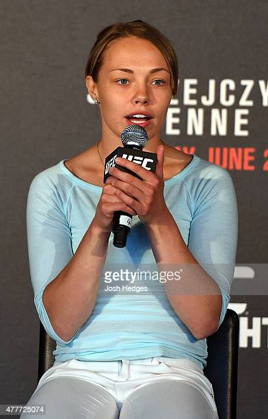 Rose Namajunas interacts with fans during a QA session before the UFC Berlin weighin at the O2 World on June 19 2015 in Berlin Germany