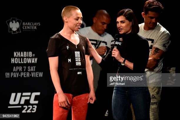 Rose Namajunas interacts with UFC host Megan Olivi during the UFC 223 Open Workouts at the Music Hall of Williamsburg on April 4 2018 in Brooklyn New...