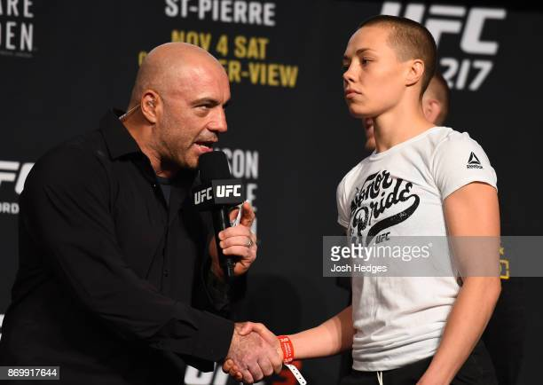 Rose Namajunas is interviewed by Joe Rogan during the UFC 217 weighin inside Madison Square Garden on November 3 2017 in New York City