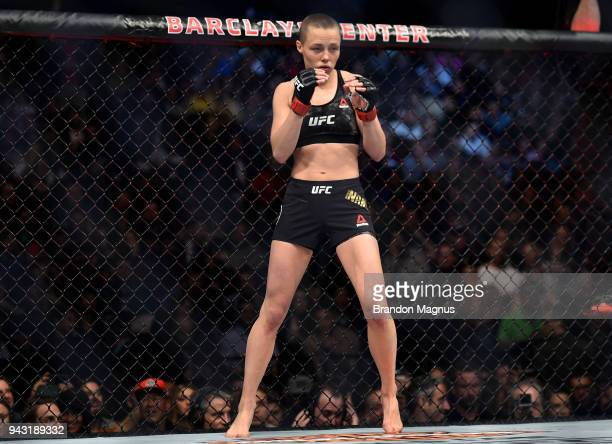 Rose Namajunas prepares to fight Joanna Jedrzejczyk in their women's strawweight title bout during the UFC 223 event inside Barclays Center on April...
