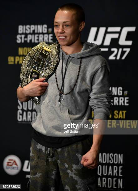Rose Namajunas speaks to the media during the UFC 217 post fight press conference event inside Madison Square Garden on November 4 2017 in New York...