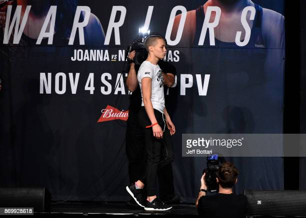 Rose Namajunas walks onstage during the UFC 217 weighin inside Madison Square Garden on November 3 2017 in New York City