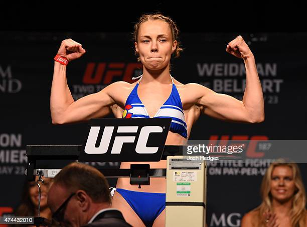 Rose Namajunas weighs in during the UFC 187 weighin at the MGM Grand Conference Center on May 22 2015 in Las Vegas Nevada