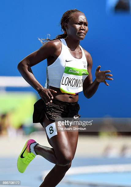 Rose Nathike Lokonyen from the Refugee Olympic Team competes in the Women's 800m Round 1 heat on Day 12 of the Rio 2016 Olympic Games at the Olympic...