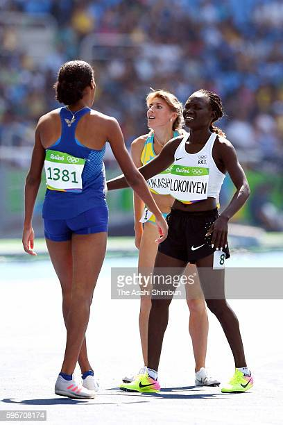 Rose Nathike Lokonyen from the Refugee Olympic Team reacts after competing in the Women's 800m Round 1 heat on Day 12 of the Rio 2016 Olympic Games...