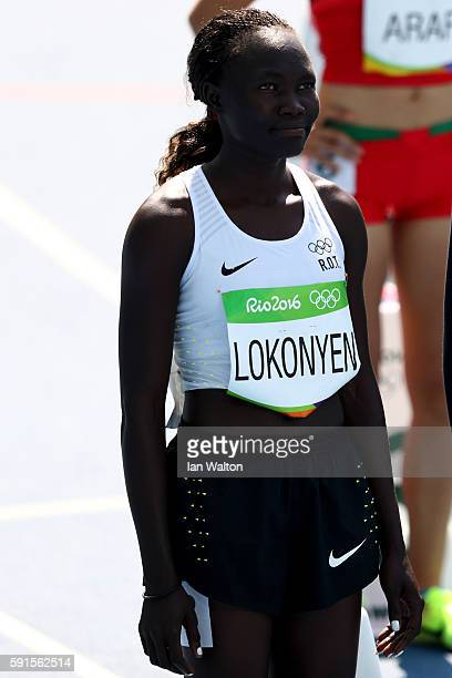 Rose Nathike Lokonyen from the Refugee Olympic Team waits to compete in the Women's 800m Round 1 heats on Day 12 of the Rio 2016 Olympic Games at the...