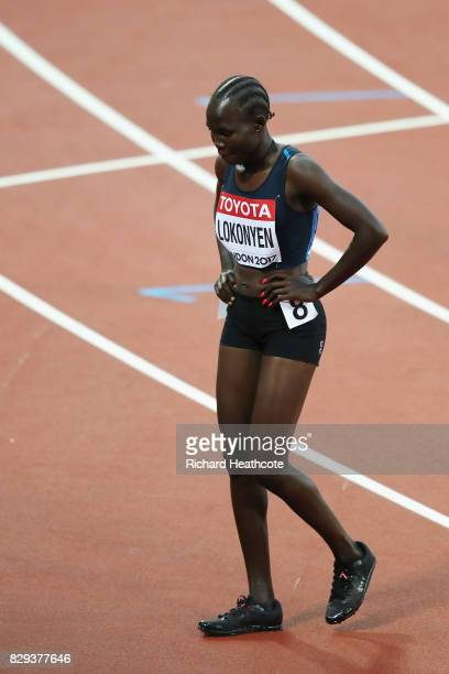 Rose Nathike Lokonyen of reacts following the womens 800m heats during day seven of the 16th IAAF World Athletics Championships London 2017 at The...