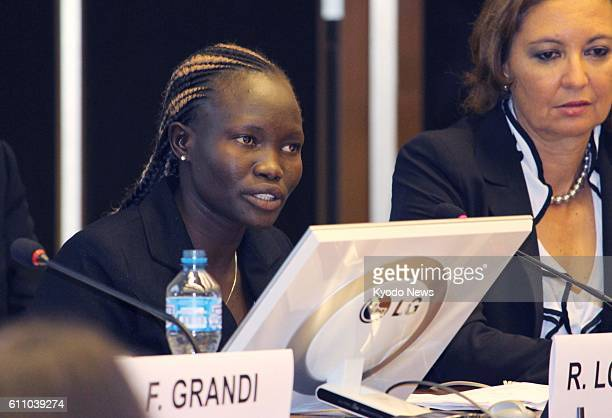 Rose Nathike Lokonyen , who represented the refugee team in the women's 800 meters at the Rio Olympics, speaks at an event at the U.N. Office in...