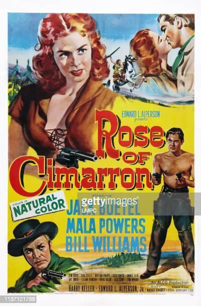 Rose Of Cimarron poster US poster art top Mala Powers bottom from left Bill Williams Jack Buetel 1952