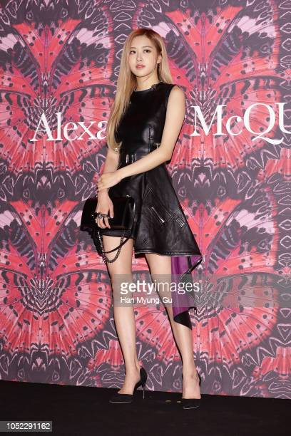 Rose of South Korean girl group BLACKPINK attends the photocall for Alexander McQueen 2018 F/W collection event on October 16 2018 in Seoul South...