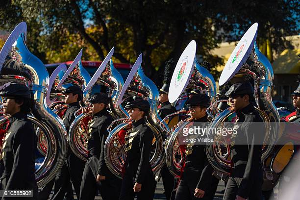 Rose Parade in Pasadena CA marching band performing