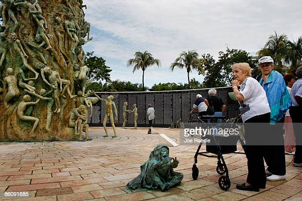 Rose Polay and Estelle Steppler visit the Holocaust Memorial during Yom HaShoahHolocaust Remembrance Day on April 21 2009 in Miami Beach Florida...