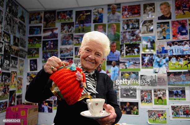 Rose pours a cup of tea in the photographers room prior to the Barclays Premier League match between Manchester City and Sunderland at Etihad Stadium...