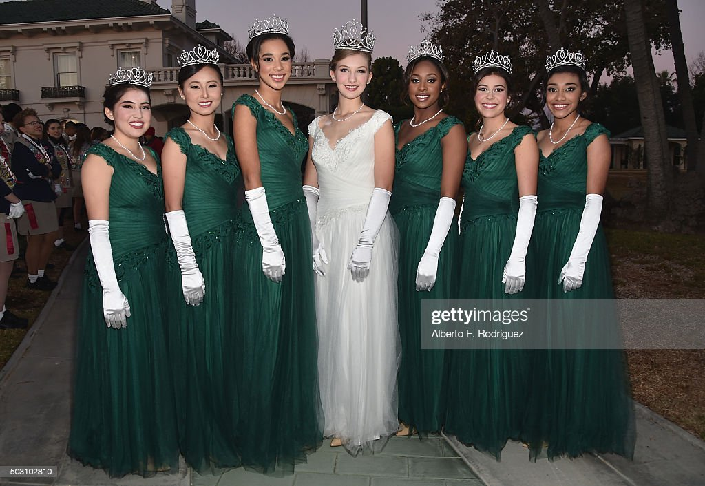 Rose Princess Sarah Sumiko Shaklan, Rachelle Chacal Renee Liu, Bryce Marie Bakewell, Queen Erika Karen Winter, Princess Regina Marche Pullens, Natalie Breanne Hernandez-Barber and Donaly Elizabeth Marquez participate in the 127th Tournament of Roses Parade presented by Honda on January 1, 2016 in Pasadena, California.