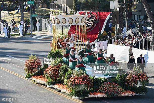 Rose Queen Erika Karen Winter and her court participate in the 127th Tournament of Roses Parade presented by Honda on January 1 2016 in Pasadena...