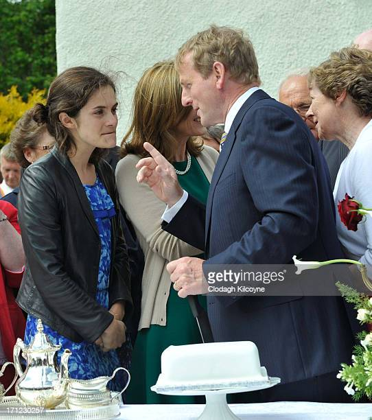 Rose Schlossberg and Enda Kenny attend a recreation of JFK's tea party at his ancestral homestead as part of commemorations for the 50th anniversary...