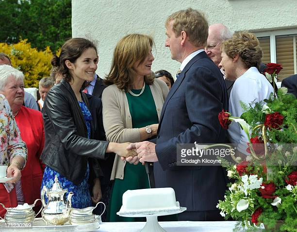 Rose Schlossberg Caroline Kennedy and Enda Kenny recreate the famous tea party that John F Kennedy had at the Kennedy homestead in 1963 as part of...