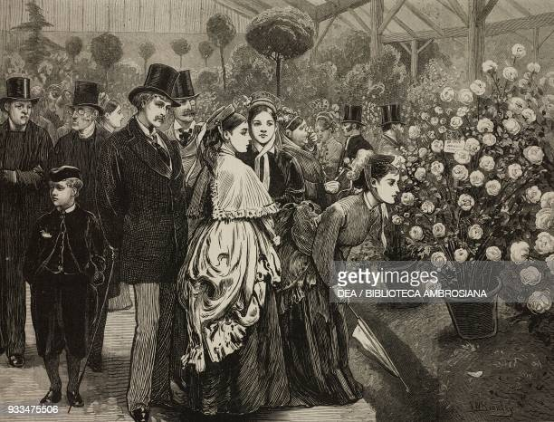 A rose show at the Horticultural Society's Gardens South Kensington London United Kingdom illustration from the magazine The Illustrated London News...