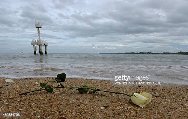A rose sits on the beach after being released by Thai children in the waters near the Ban Nam Khem tsunami memorial park wall as the tenth...